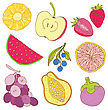 Fruits Collection. Set Of Tropical Fruit. Hand Drawn Vector Illustration