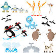 Funny Animals, Cartoon Collection stock vector