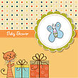Funny Cartoon Baby Shower Card In Vector Format