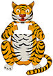 Funny Cartoon Character Tiger Sitting On A Floor And Holding White Sheet In Hands Over White Background. Hand Drawn In Front View Elegant Cute Design. Vector Illustration