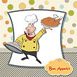 Funny Cartoon Chef With Tray Of Food In Hand, Vector Illustration stock vector