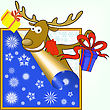Funny Christmas Moose Stretches Gifts In Boxes stock illustration
