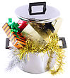 Funny Christmas And New Year-balls,tinsel In Saucepan. Isolated Over White stock photo