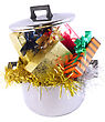 Funny Christmas And New Year-balls,tinsel In Saucepan. Isolated Over White