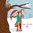 Funny Couple In The Winter, Christmas Card In Vector Format
