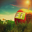 Funny Farm. Abstract Fantastic Landscape With Apple House And Beauty Flowers