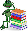 Funny Frog Leaning On A High Stack Of Colored Books stock vector