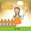 Funny Girl With Balloon, Birthday Greeting Card