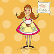 Funny Girl With Birthday Cake, Vector Illustration stock vector
