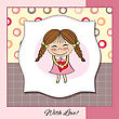 Funny Girl With Hearts. Doodle Cartoon Character. Vector Illustration