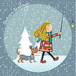 Funny Girl And Her Dressed Dog In A Beautiful Christmas Card