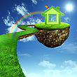 Funny Green House. Abstract Eco Backgrounds For Your Design