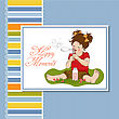 Funny Lovely Little Girl Blowing Soap Bubbles, Vector