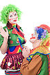 Funny Loving Couple Of Clowns. stock image