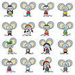Funny Mouse Cartoon Set Against White stock illustration
