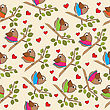 Funny Seamless Pattern With Dressed Birds, Vector Format