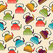 Funny Seamless Pattern With Kettles, Vector Format