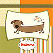 Funny Shower Card With Long Dog, Vector Format