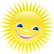 Funny Smiling Sun With Blue Eyes stock vector