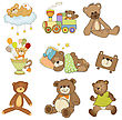 Funny Teddy Bears Set Isolated On White Background, Vector Illustration