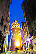Famousplace Galata Tower (Christea Turris) In Istanbul, Turkey At Night Time stock image