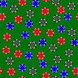 Gambling Plastic Colored Chips Seamless Pattern On Green Cloth Background