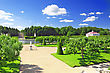 Sunny Garden Of Monplaisir Palace. Peterhof, Russia stock photography
