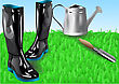 Garden Tools. Boots With Shovei On Green Grass stock illustration