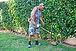 Gardener By Work With Trimmer. stock photography