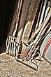 Gardening Tools And Wood Stored In The Barn stock photo