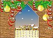 Gate In Winter Village. Christmas And New Year Background