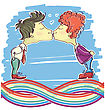 Gay Couples Kissing.Vector Scetch Image For Design