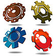 Gear Icons Over White Background In Various Colors stock illustration