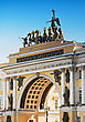 General Staff Building In St Petersburg. Triumphal Arch, Crowned By The Chariot Of Glory stock photo
