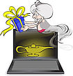 Genie With A Gift In The Hands Fly Out Off From The Notebook stock illustration
