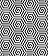 Geometric Background With Black And White Stripes. Seamless Monochrome Pattern With Zebra Effect.Alternating Black And White Diagonally Cut Hexagons