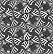 Geometric Background With Black And White Stripes. Seamless Monochrome Pattern With Zebra Effect.Alternating Black And White Wavy Striped Crosses
