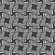 Geometric Background With Black And White Stripes. Seamless Monochrome Pattern With Zebra Effect.Alternating Black And White Wavy Striped Crosses In Row