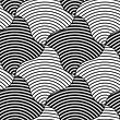 Geometric Background With Black And White Stripes. Seamless Monochrome Pattern With Zebra Effect.Alternating Black And White Wavy Squares