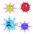 Germs And Bugs Bacterium Vector Comic In Different Colours