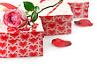 Gift Boxes And Rose On White Background stock photography