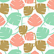 Gingko Biloba Seamless Pattern. Abstarct Vector Background In Pink, Mint And Golden Colors