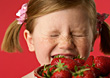Girl Allergic To Strawberries stock photo