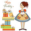 Girl With Birthday Cake, Illustration In Vector Format