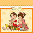 Grandchildren Girl And Boy Plays With Toys, Vector Illustration stock vector