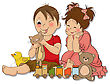 Girl And Boy Plays With Toys, Vector Illustration stock vector