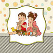 Girl And Boy Plays With Toys, Vector Illustration