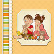 Grandchildren Girl And Boy Plays With Toys, Vector Illustration stock illustration