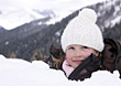 Girl Buried in Snow stock image