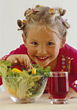 Girl Eating Salad stock photography